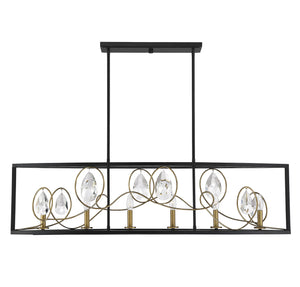 597143 - Six Light Linear Chandelier - Como Black w/ Gold