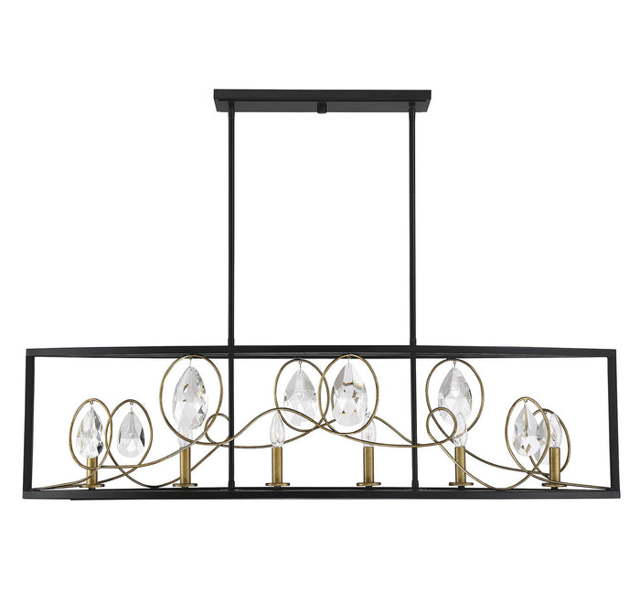 Six Light Linear Chandelier