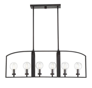 597141 - Six Light Outdoor Linear Chandelier - English Bronze