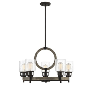 597145 - Five Light Chandelier - Noblewood w/ Iron