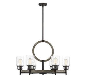 597120 - Six Light Chandelier - Noblewood w/ Iron