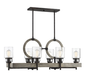 597124 - Six Light Linear Chandelier - Noblewood w/ Iron