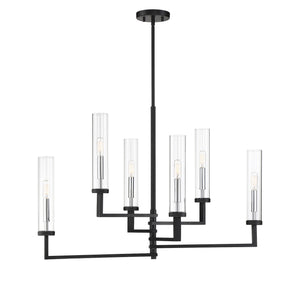 597123 - Six Light Linear Chandelier - Matte Black w/ Polished Chrome Accents