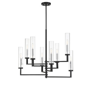 597129 - Eight Light Chandelier - Matte Black w/ Polished Chrome Accents
