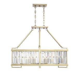 597121 - Eight Light Linear Chandelier - Noble Brass