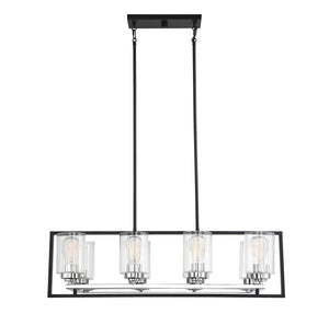 597126 - Eight Light Chandelier - Matte Black w/ Polished Chrome Accents