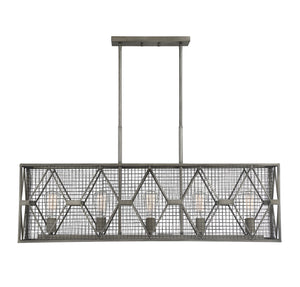 597134 - Five Light Linear Chandelier - Smoke