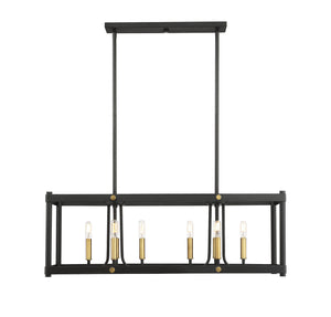 597192 - Eight Light Linear Chandelier - Vintage Black w/ Warm Brass