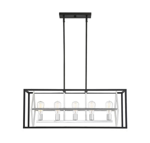 597193 - Five Light Linear Chandelier - Matte Black w/ Polished Chrome Accents