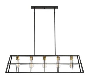 597199 - Five Light Linear Chandelier - Vintage Black w/ Warm Brass