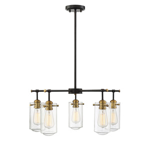597197 - Five Light Chandelier - English Bronze and Warm Brass