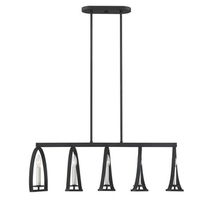 597195 - Five Light Chandelier - Black w/ Satin Nickel