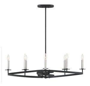 597114 - Eight Light Linear Chandelier - Black w/ Satin Nickel