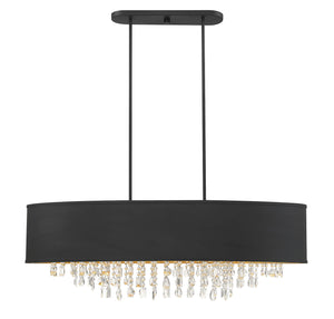 597113 - Eight Light Linear Chandelier - Black w/ Gold Leaf
