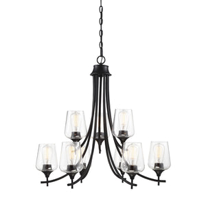 597163 - Nine Light Chandelier - Black