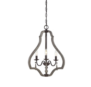 597166 - Three Light Foyer Pendant - Weathered Ash