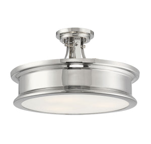 597841 - Three Light Semi-Flush Mount - Polished Nickel