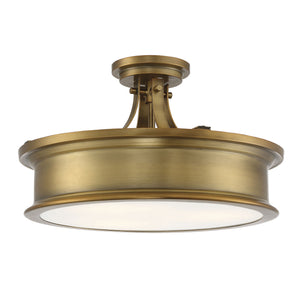 597848 - Three Light Semi-Flush Mount - Warm Brass
