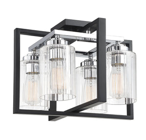 597820 - Four Light Flush Mount - Matte Black w/ Polished Chrome Accents