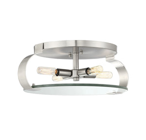 597823 - Four Light Flush Mount - Satin nickel