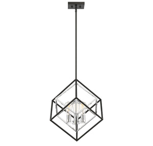 597850 - Three Light Pendant - Matte Black w/ Polished Chrome Accents
