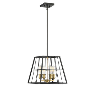 597853 - Four Light Pendant - Vintage Black w/ Warm Brass