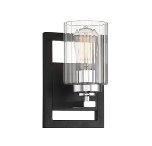 597696 - One Light Wall Sconce - Matte Black w/ Polished Chrome Accents