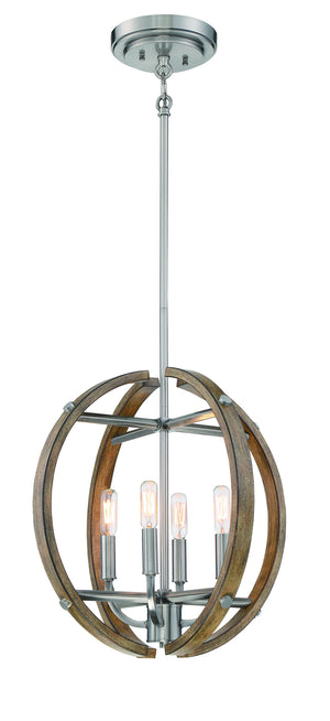 510242 - Four Light Pendant - Sun Faded Wood w/ Brush Nickel Accents
