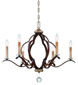 510231 - Six Light Chandelier - Pale Gold w/ Distressed Bronze