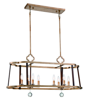 510236 - Eight Light Island Pendant - Pale Gold w/ Distressed Bronze