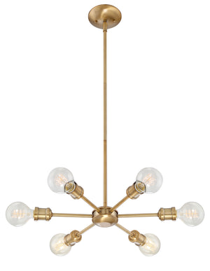 513124 - Six Light Chandelier - Natural Brass