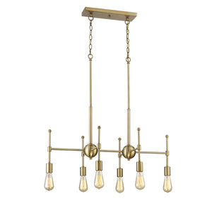 513128 - Six Light Chandelier - Natural Brass