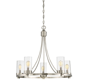 513126 - Five Light Chandelier - Brushed Nickel