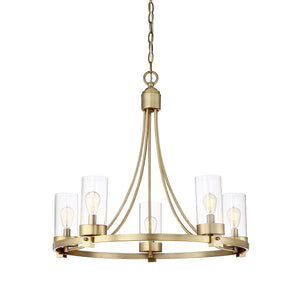 513127 - Five Light Chandelier - Natural Brass