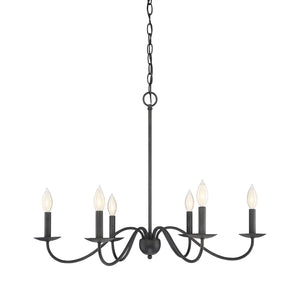 513194 - Six Light Chandelier - Aged Iron