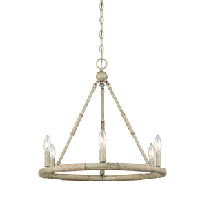 513199 - Six Light Chandelier - Natural Wood and Rope