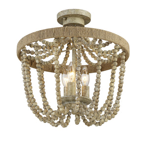 513189 - Three Light Semi Flush Mount - Natural Wood w/Rope