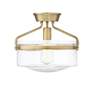 513168 - One Light Semi Flush Mount - Natural Brass