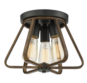 513801 - Three Light Semi Flush Mount - Weathered Wood w/ Copper Gold