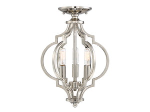513845 - Three Light Semi Flush Mount - Polished Nickel