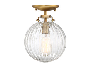 513824 - One Light Semi Flush Mount - Natural Brass