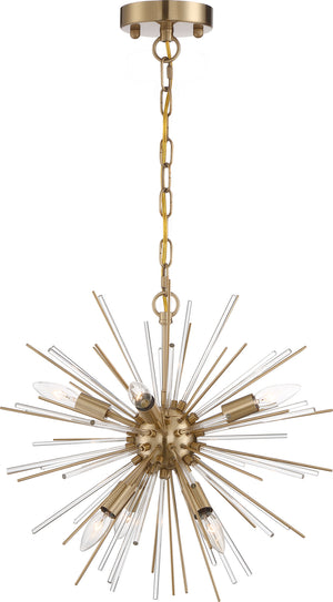 561076 - Six Light Chandelier - Vintage Brass