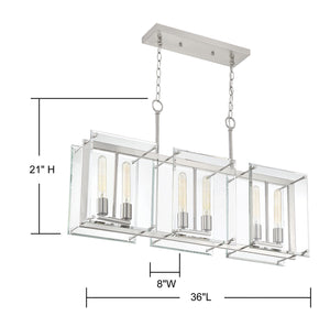 570651 - Six Light Linear Chandelier - Satin Nickel