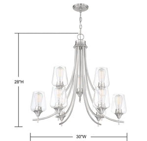 570655 - Nine Light Chandelier - Satin Nickel