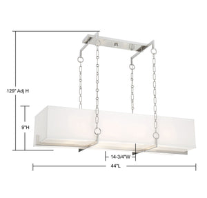 570704 - Eight Light Linear Chandelier - Satin Nickel
