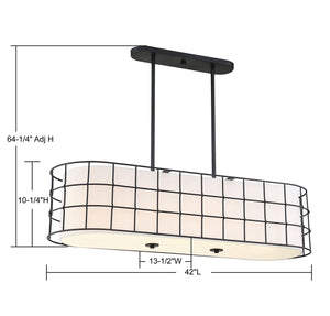 570703 - Five Light Linear Chandelier - Black