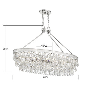570708 - Eight Light Linear Chandelier - Polished Nickel