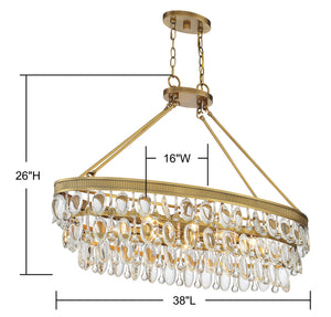 570706 - Eight Light Linear Chandelier - Warm Brass