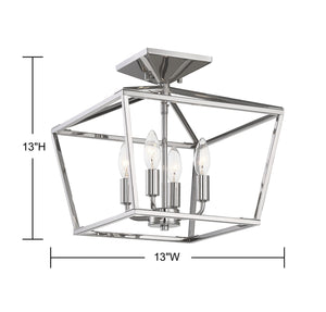 570722 - Four Light Semi Flush Mount - Polished Nickel