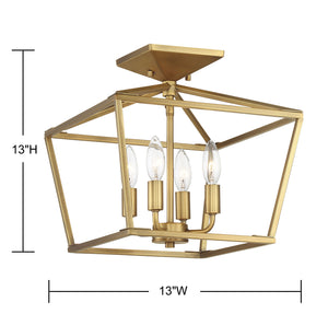 570723 - Four Light Semi Flush Mount - Warm Brass